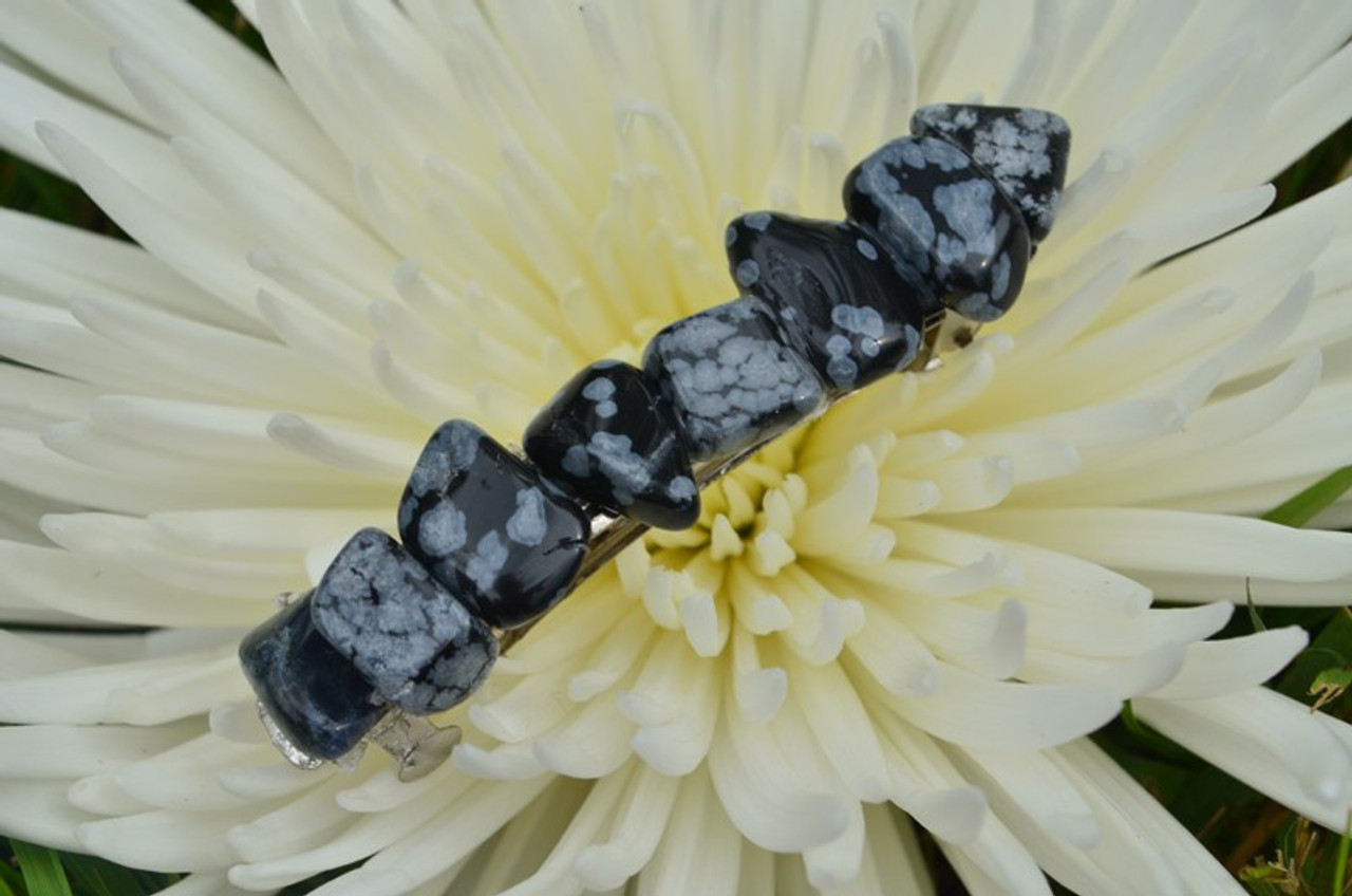 Snowflake Obsidian Stone French Barrette Hair Clip