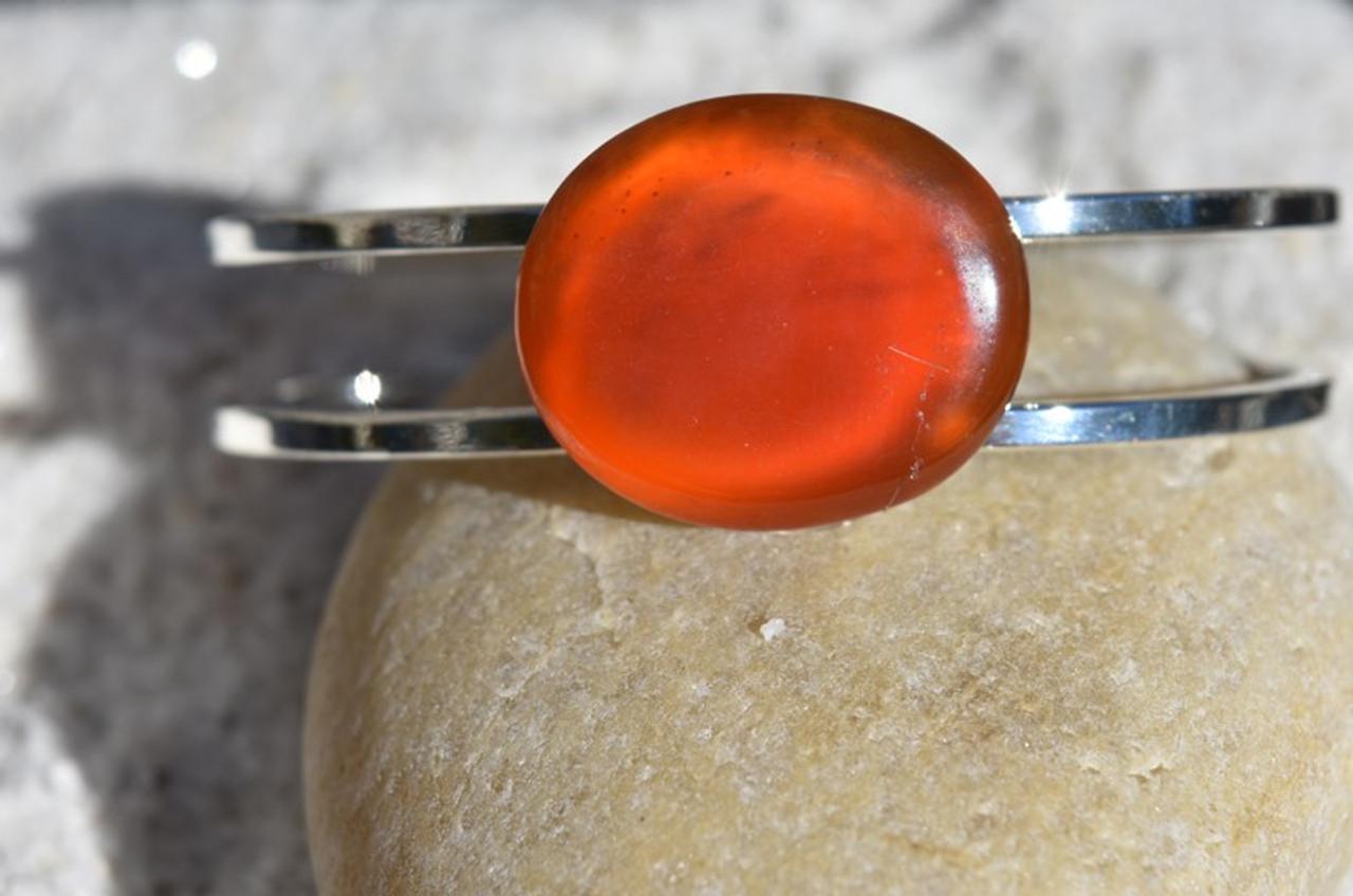 Carnelian Palm Stone Cuff Bracelet