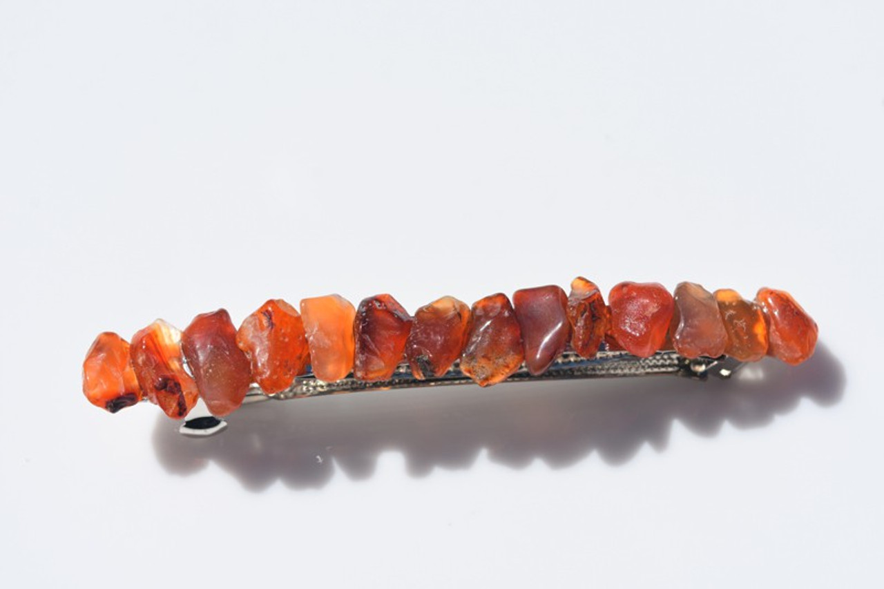 Tumbled Carnelian Stone French Barrette Hair Clip