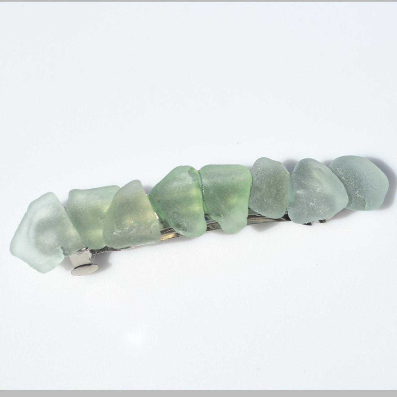 Aqua Sea Glass French Barrette