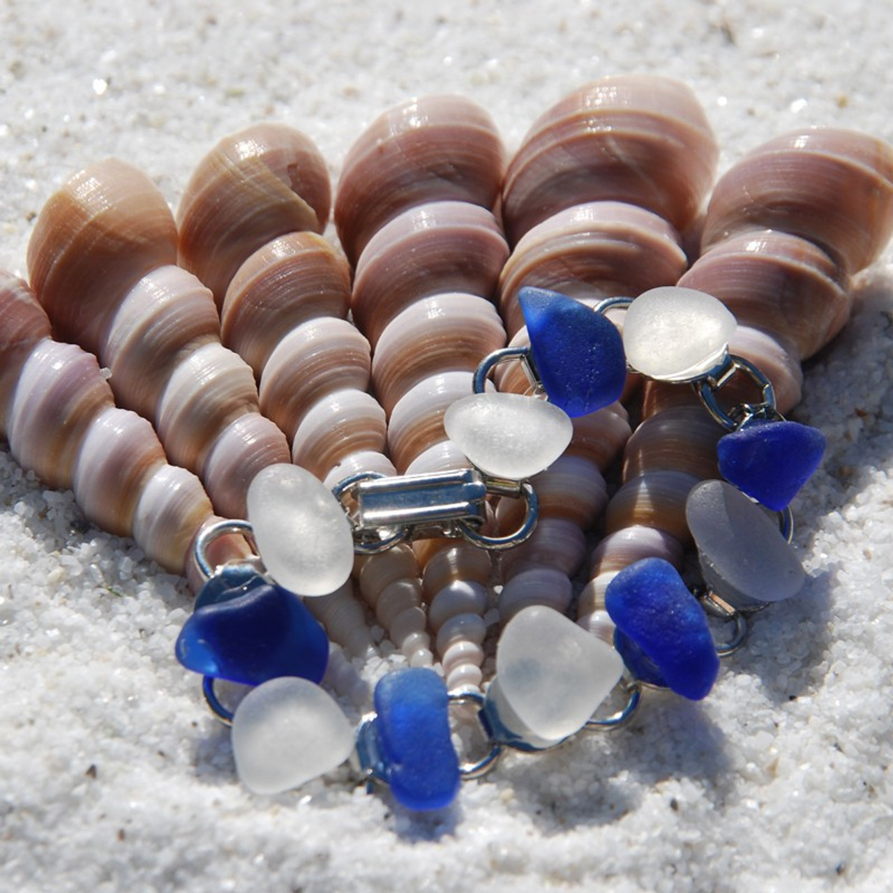Frosted White and Cobalt Blue Sea Glass Bracelet - 3 Sizes Available - Made to Order