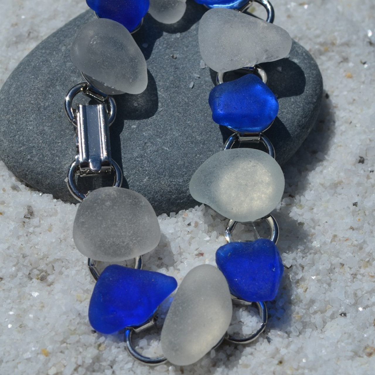 Frosted and Cobalt Blue Sea Glass Bracelet