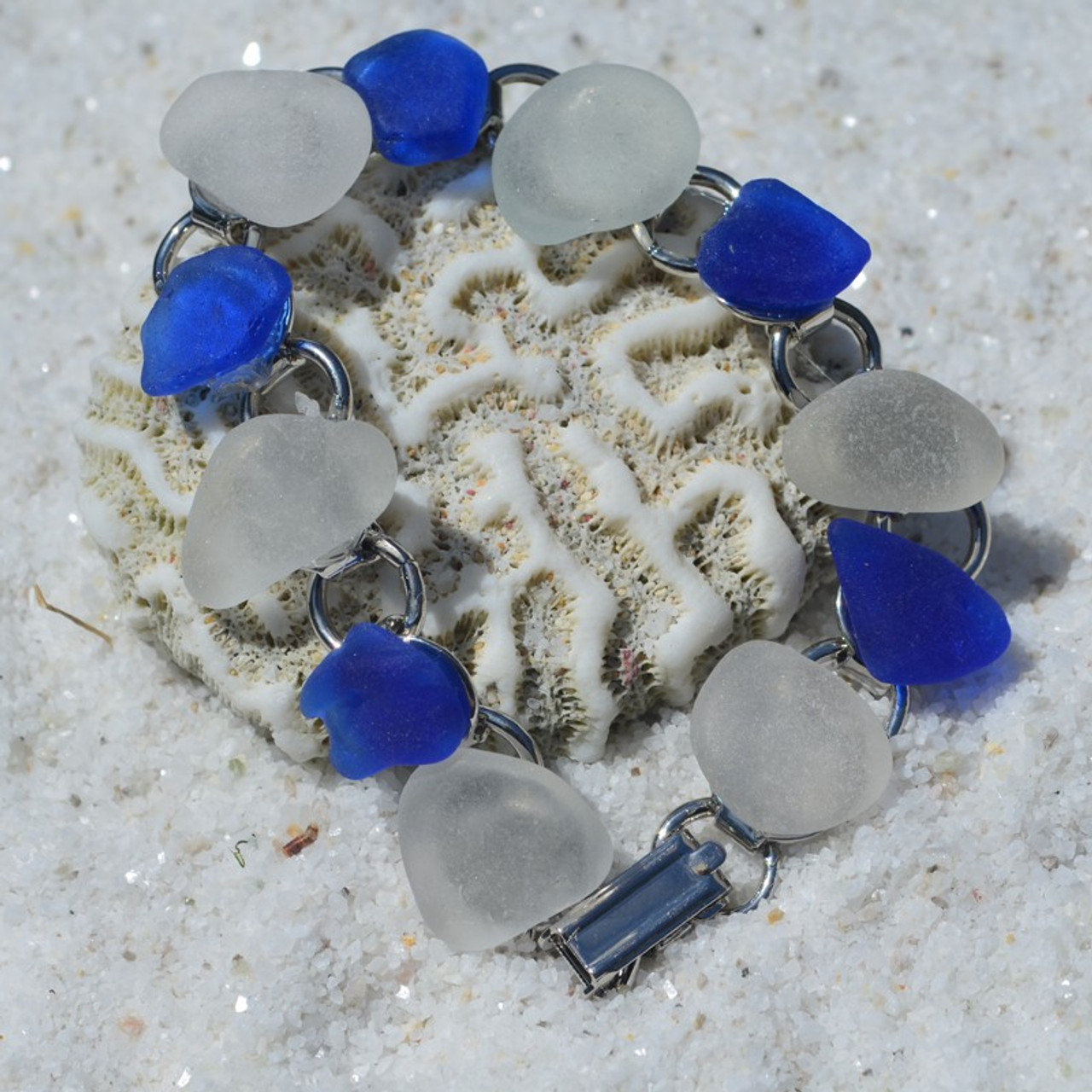 Frosted and Cobalt Blue Sea Glass Charm Bracelet