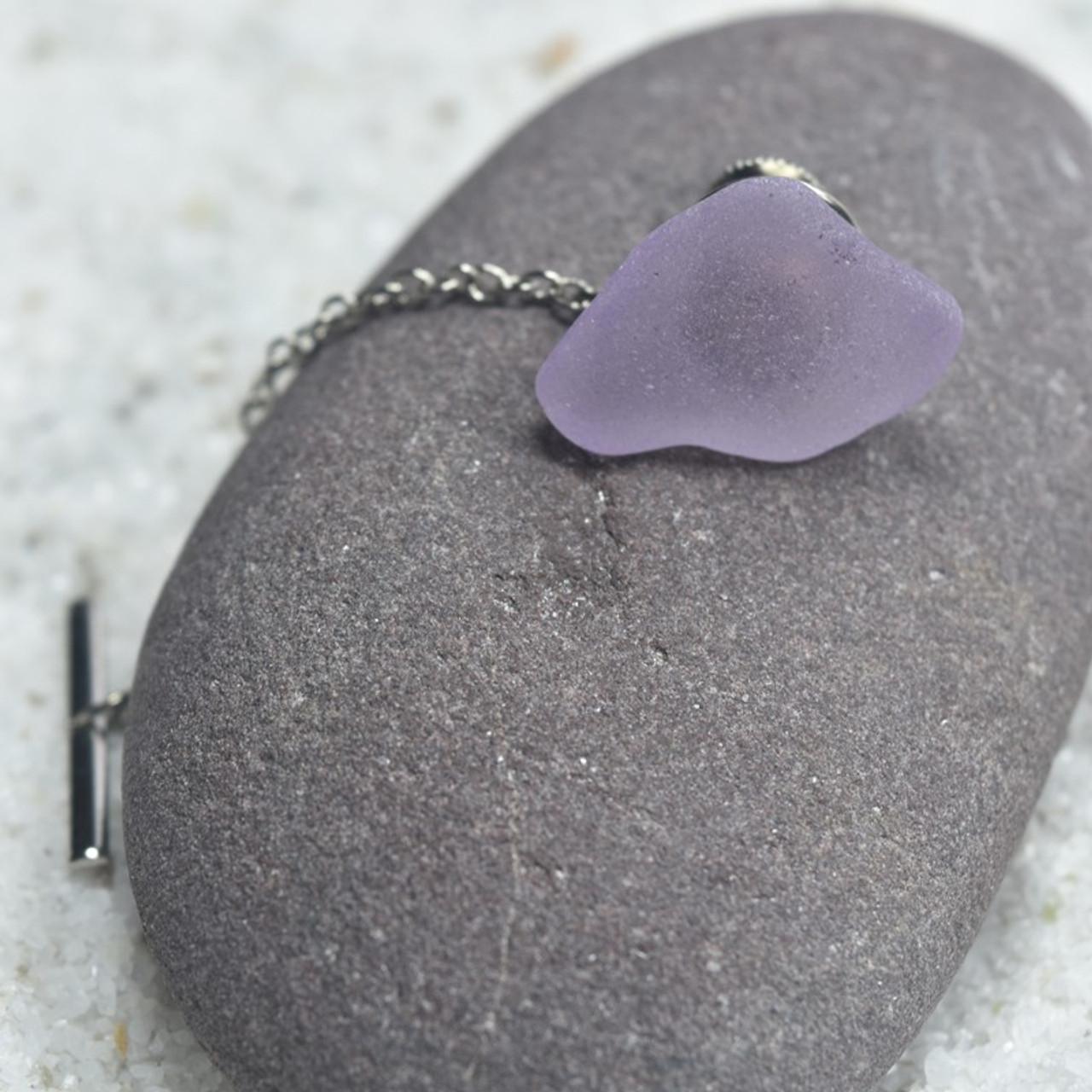 Surf Tumbled Purple Sea Glass Tie Tack