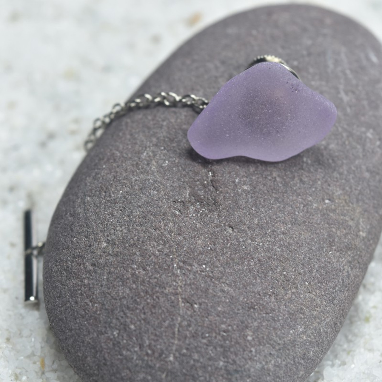 Surf Tumbled Purple Sea Glass Tie Tack