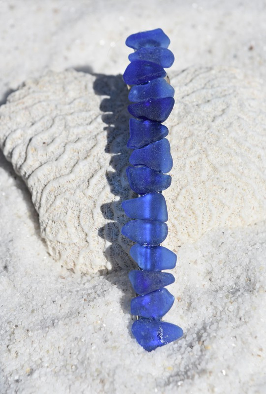 Blue Sea Glass French Barrette