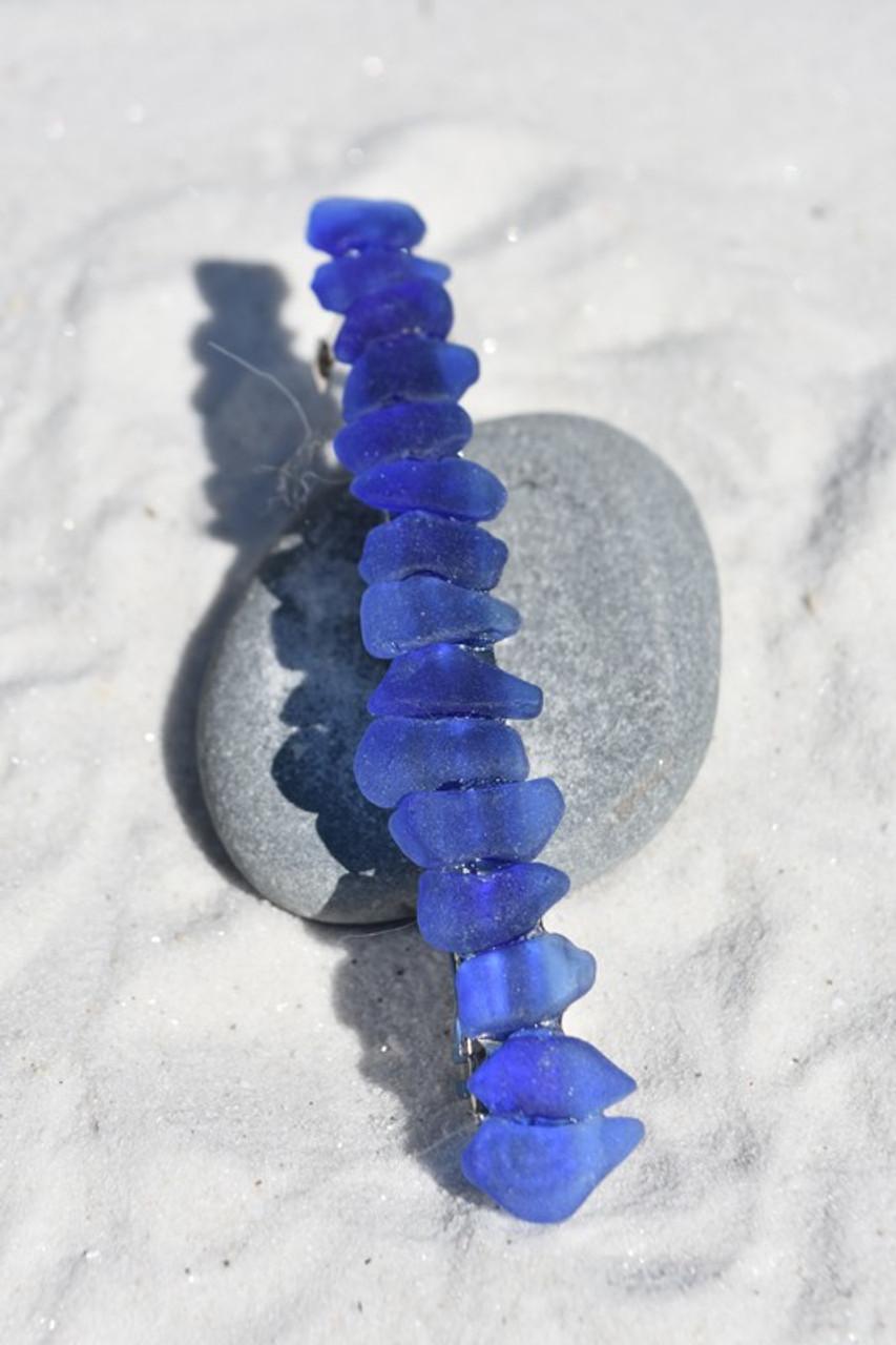 Blue Sea Glass Hair Clip