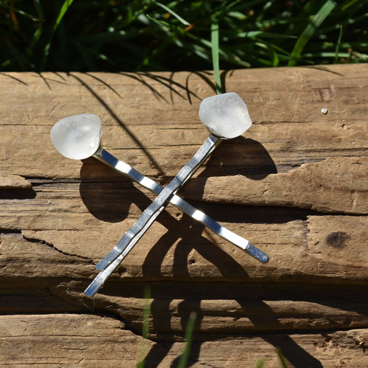Surf Tumbled Frosted Sea Glass Hair Pins