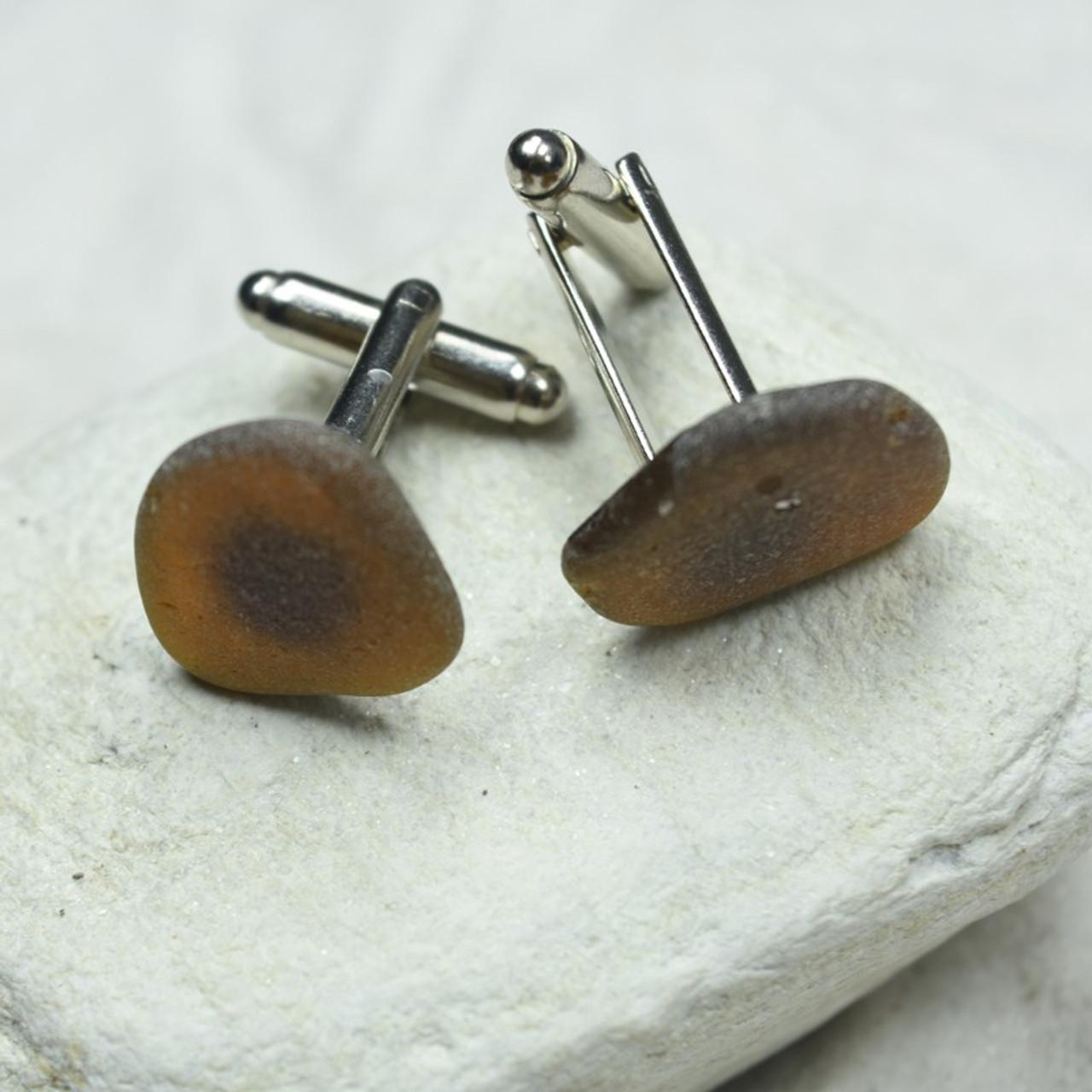 Brown Sea Glass Cufflinks