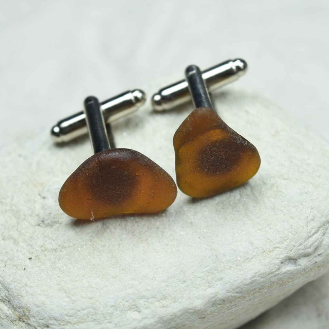 Brown Sea Glass Cufflinks Handmade - 1 Set - Made to Order
