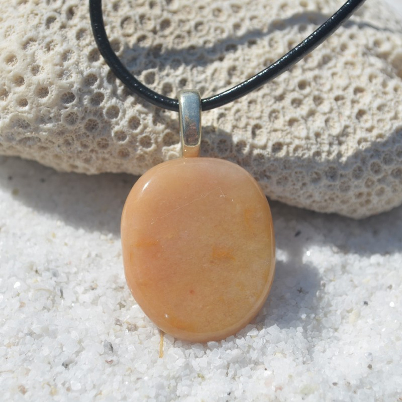 Yellow Jasper Palm Stone  Pendant