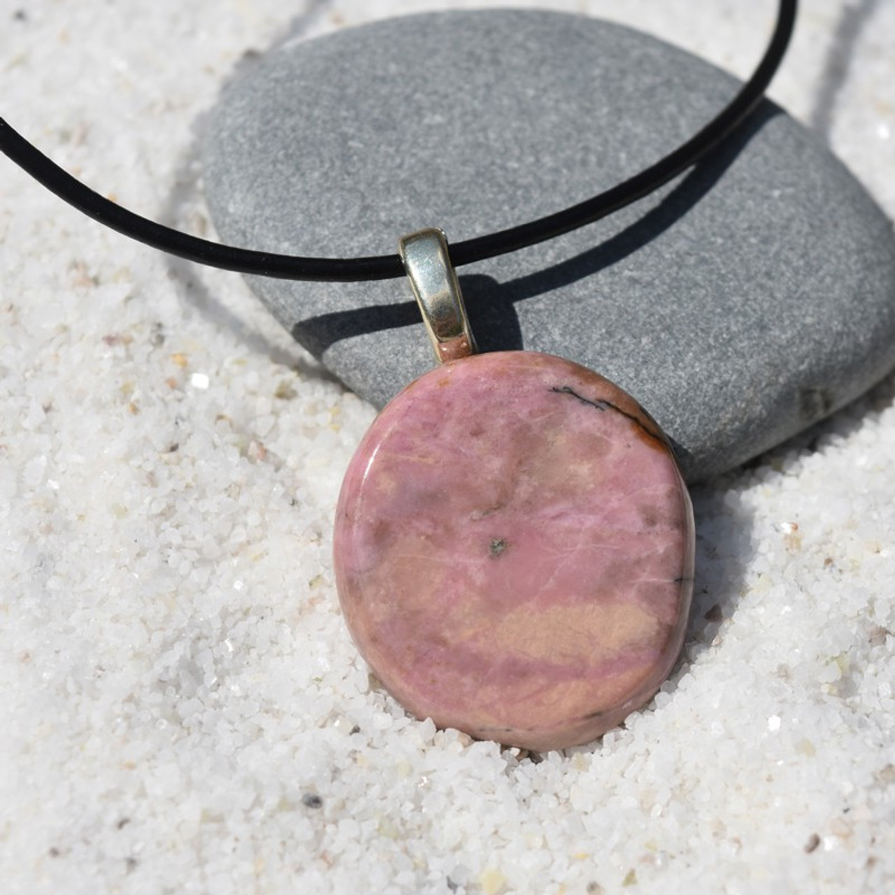 Rhodonite Palm Stone Pendant and Necklace
