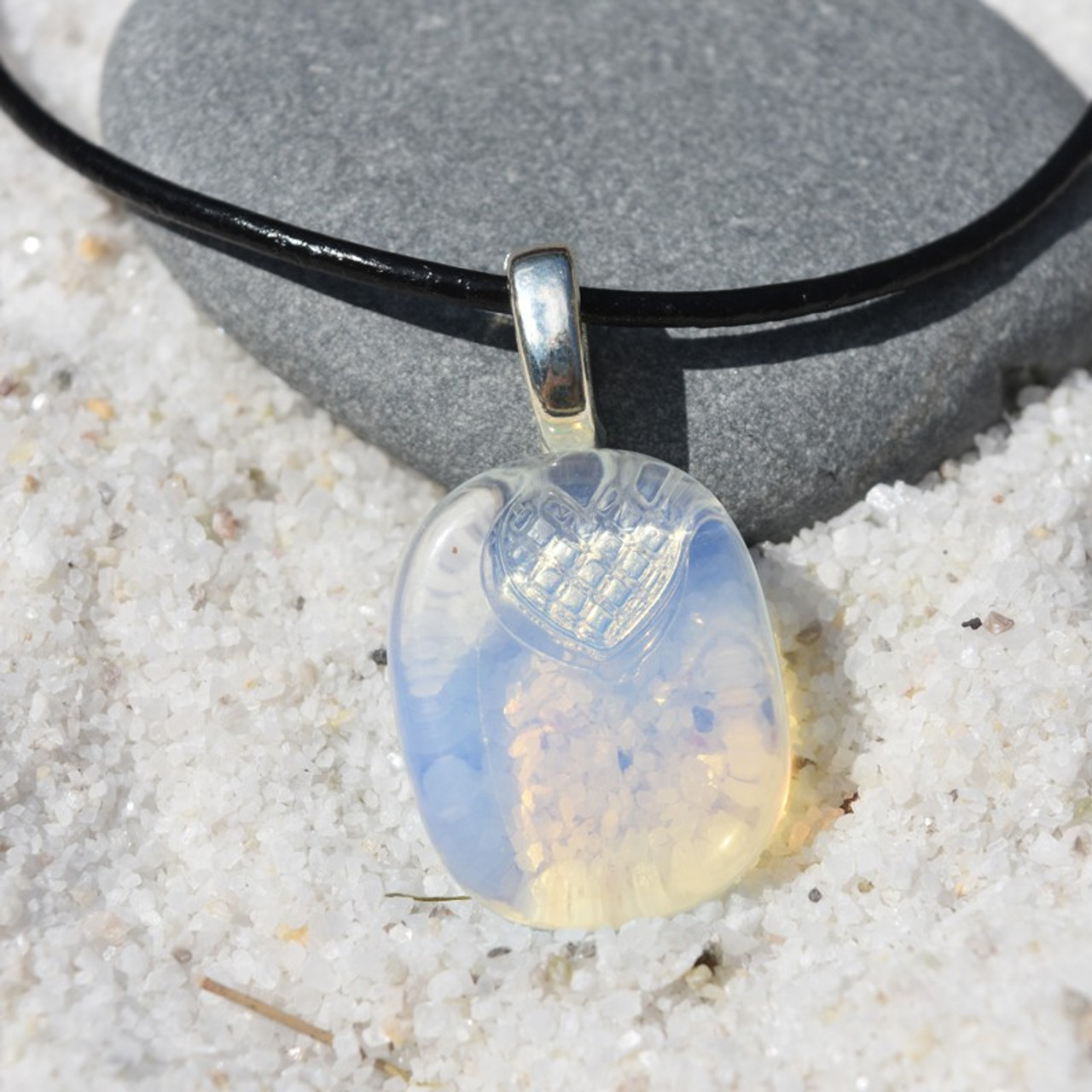 Opalite Palm Stone on a Leather Thong Necklace - Made to Order