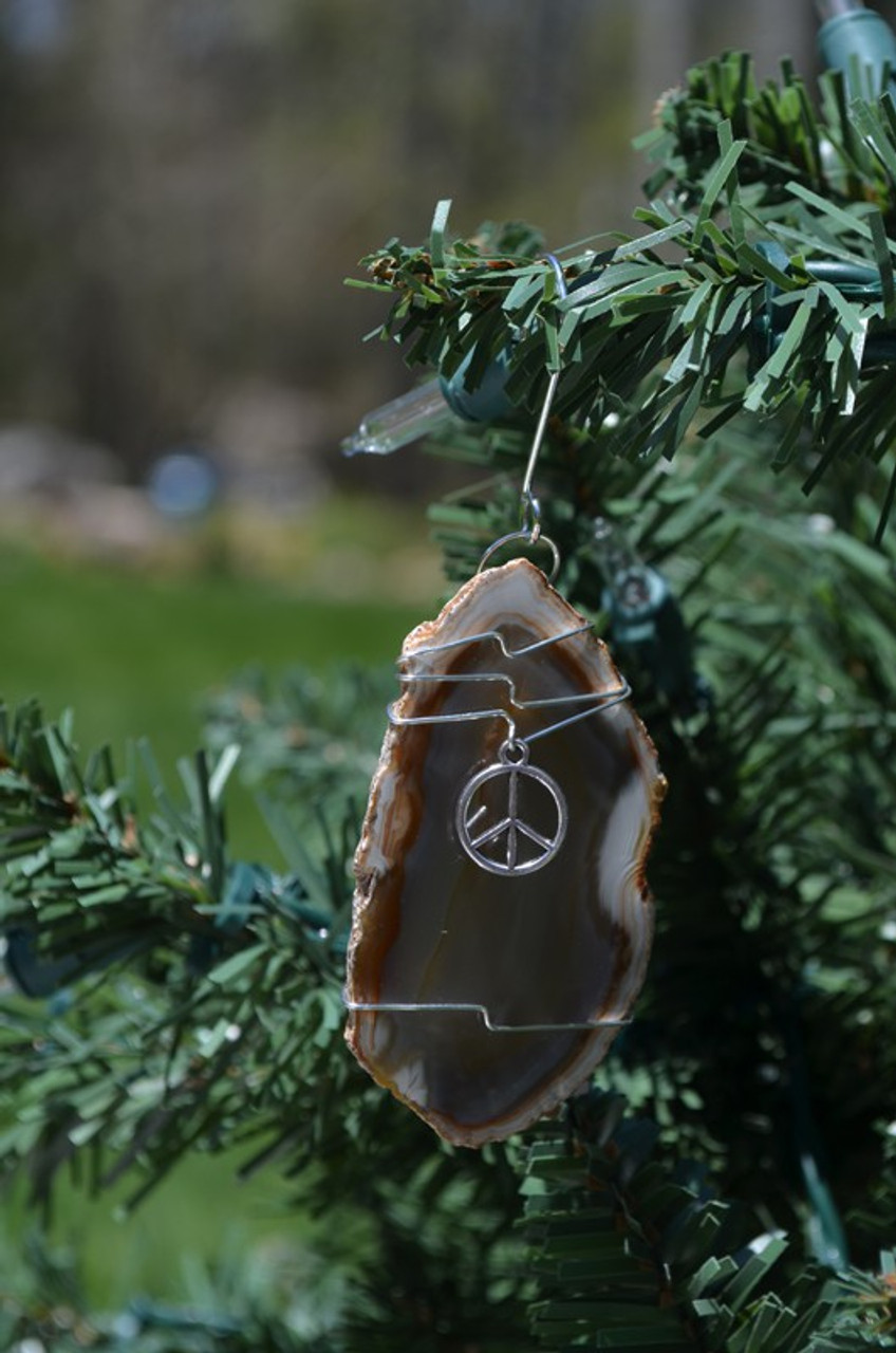 Wire Wrapped Peace Symbol Ornament