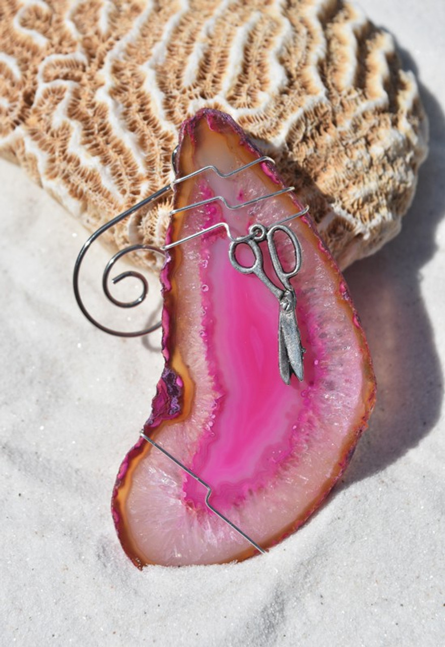 Agate Slice Ornament with Silver Scissors Charm - Choose Your Agate Slice Color - Made to Order