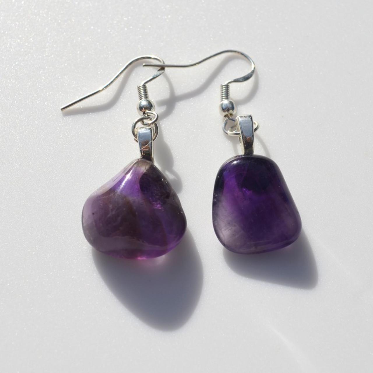 Tumbled Amethyst Earrings