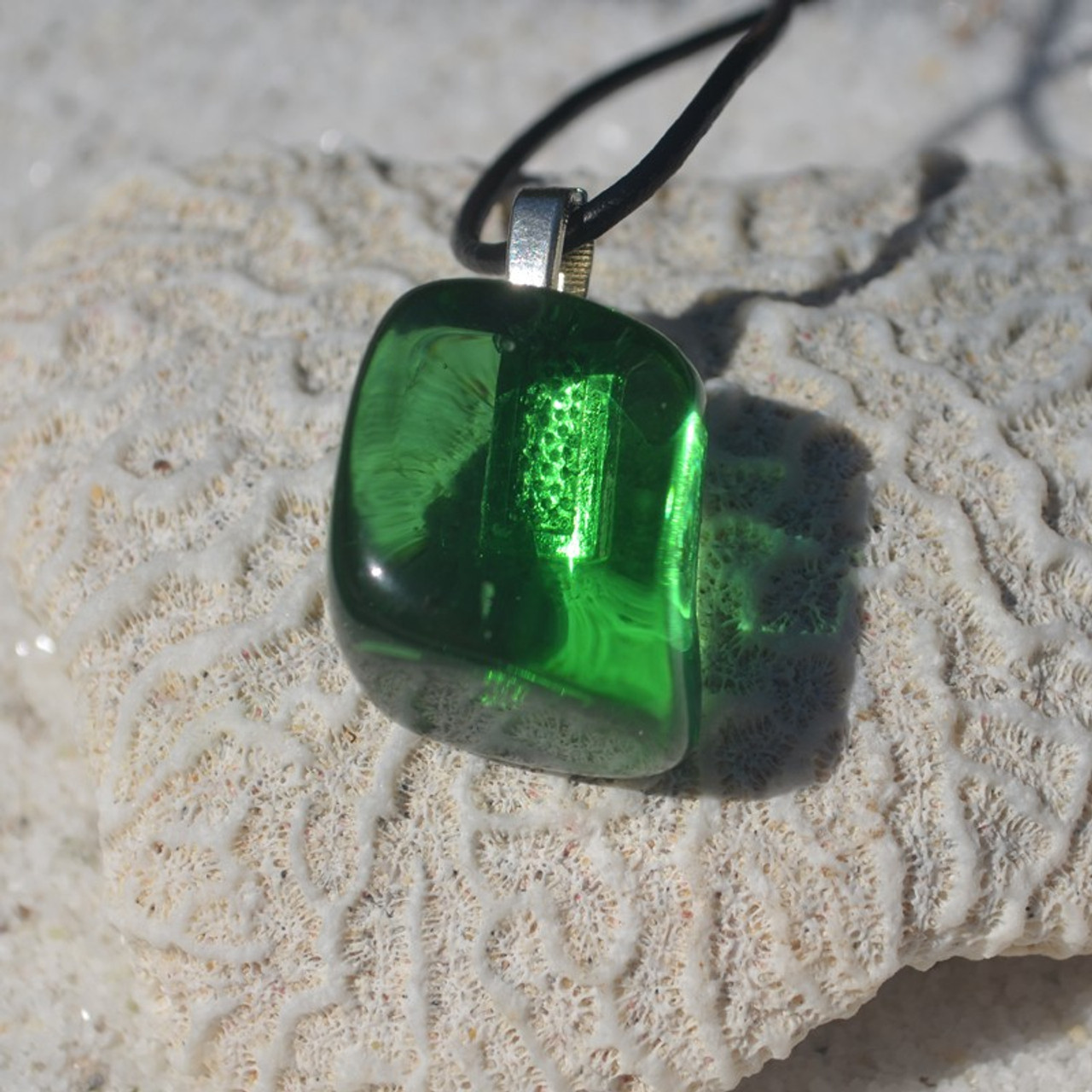 Green Obsidian Pendant and Necklace - Choose Sterling Silver Chain or Leather Cord - Quantity of 1 - Made to Order