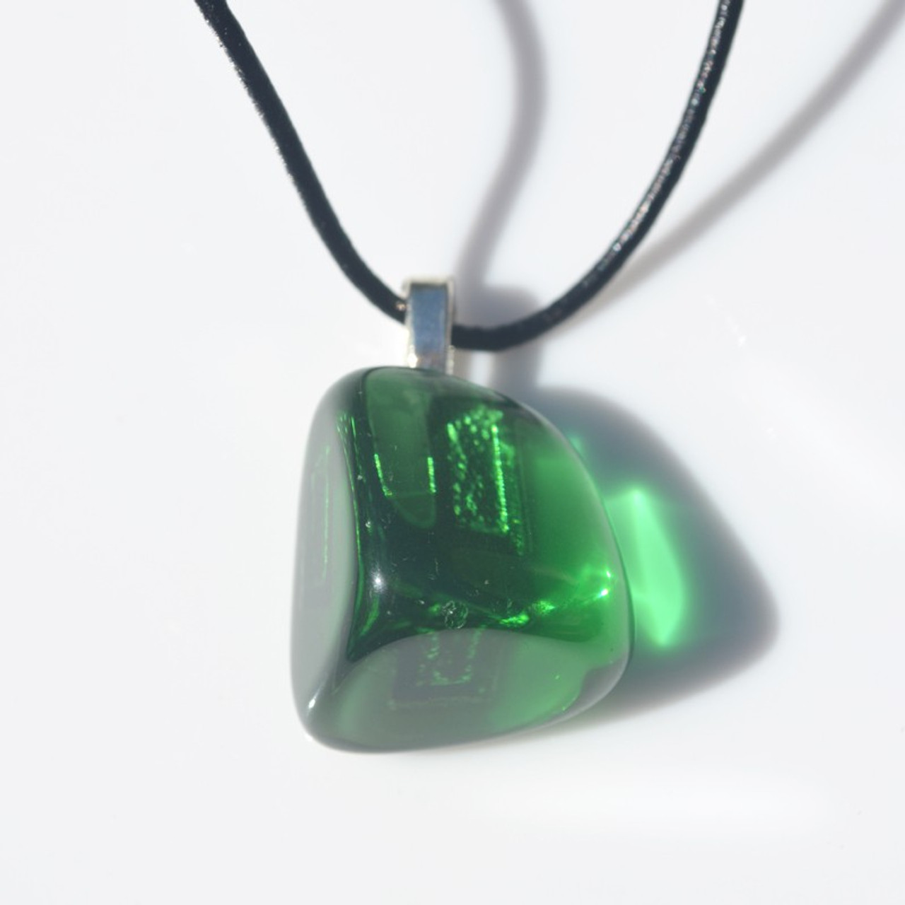 Custom Tumbled Green Obsidian Pendant and Necklace - Choose Sterling Silver Chain or Leather Cord - Quantity of 1
