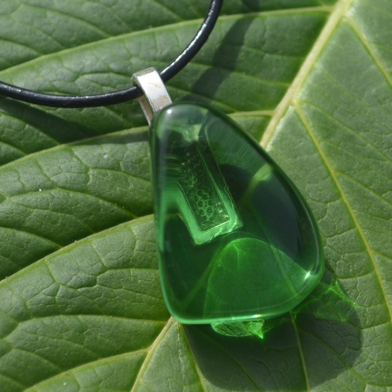 Tumbled Green Obsidian Pendant