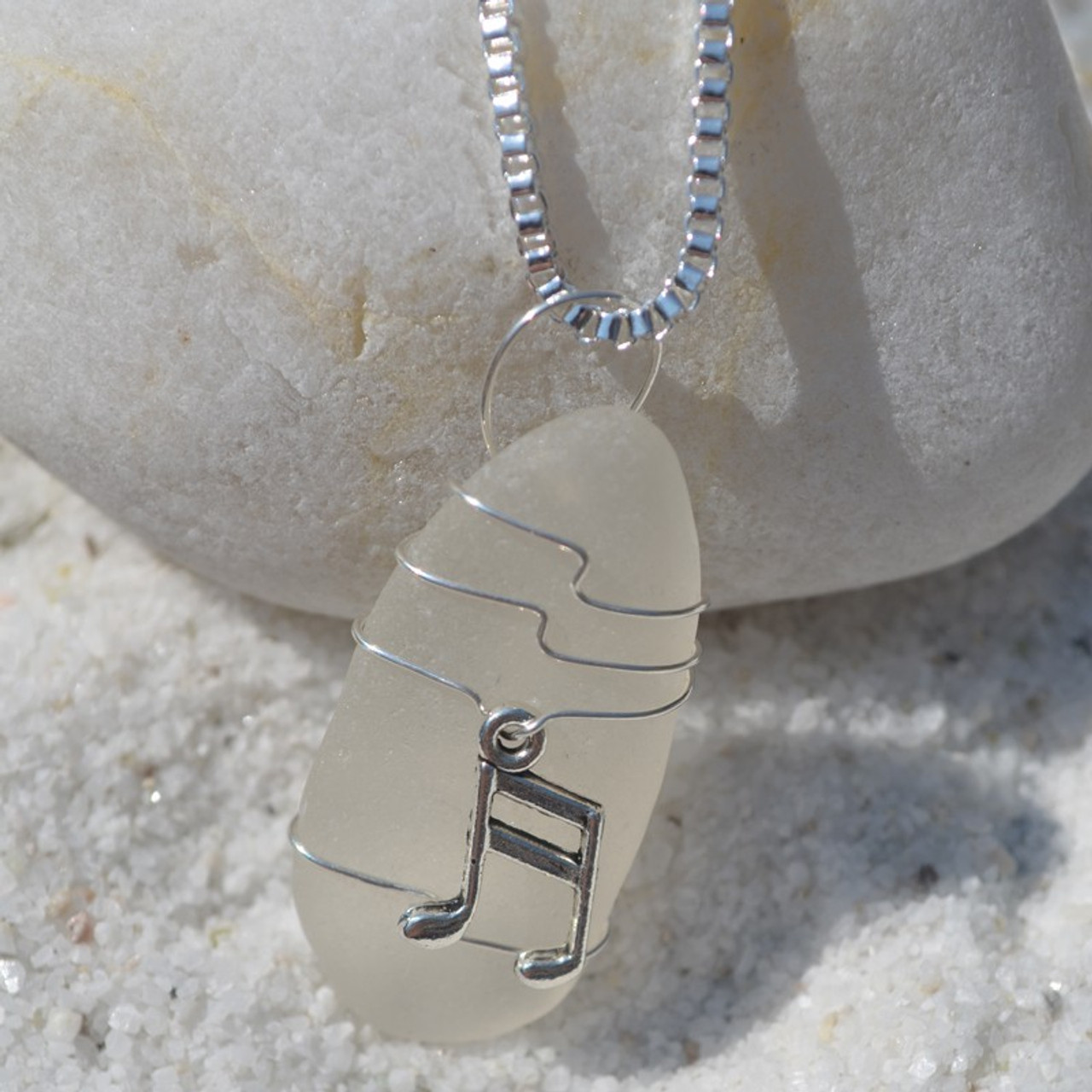 Sea Glass Necklace with a Silver Musical Notes Charm - Choose the Color - Frosted, Green, Brown, or Aqua - Made to Order