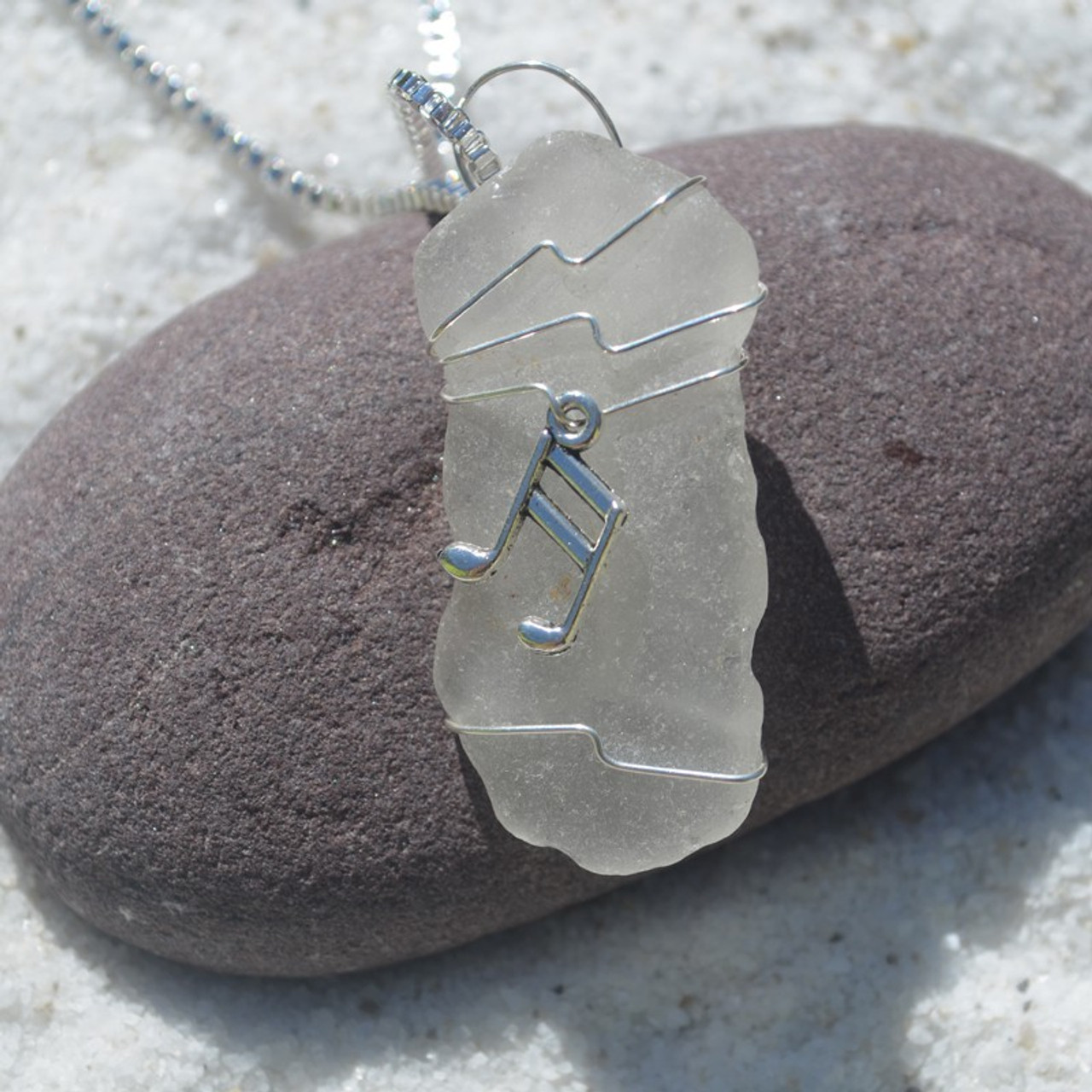 Wire Wrapped Musical Note Necklace