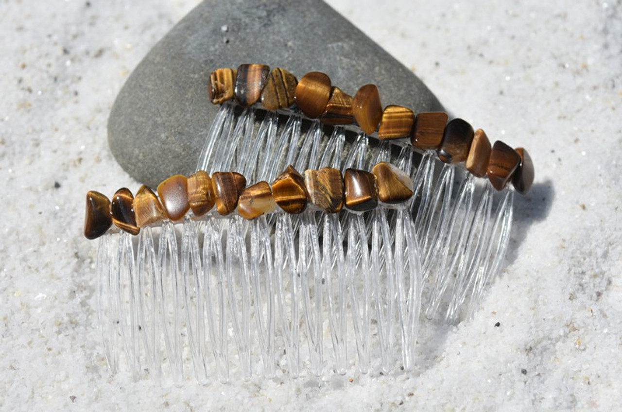 Gold Tiger's Eye Stone Hair Combs (Quantity of 2) - Made to Order