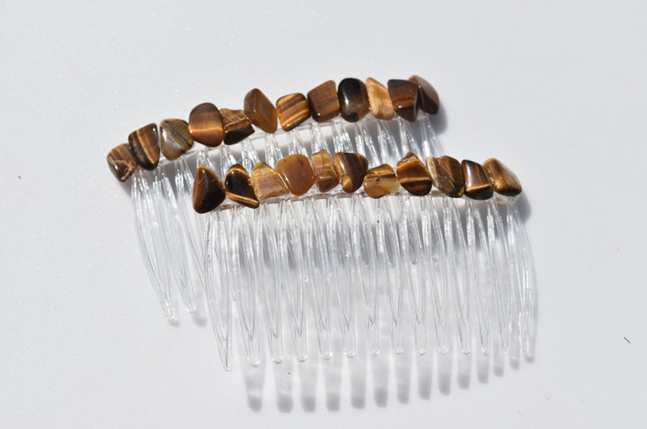 Tumbled Gold Tiger's Eye Stone Hair Combs