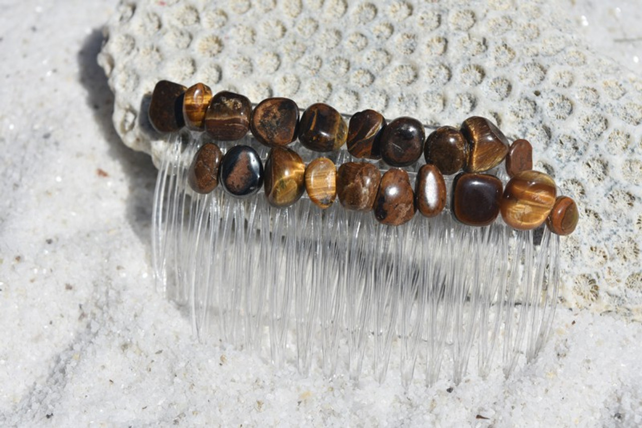 Gold Tiger's Eye Stone Hair Combs