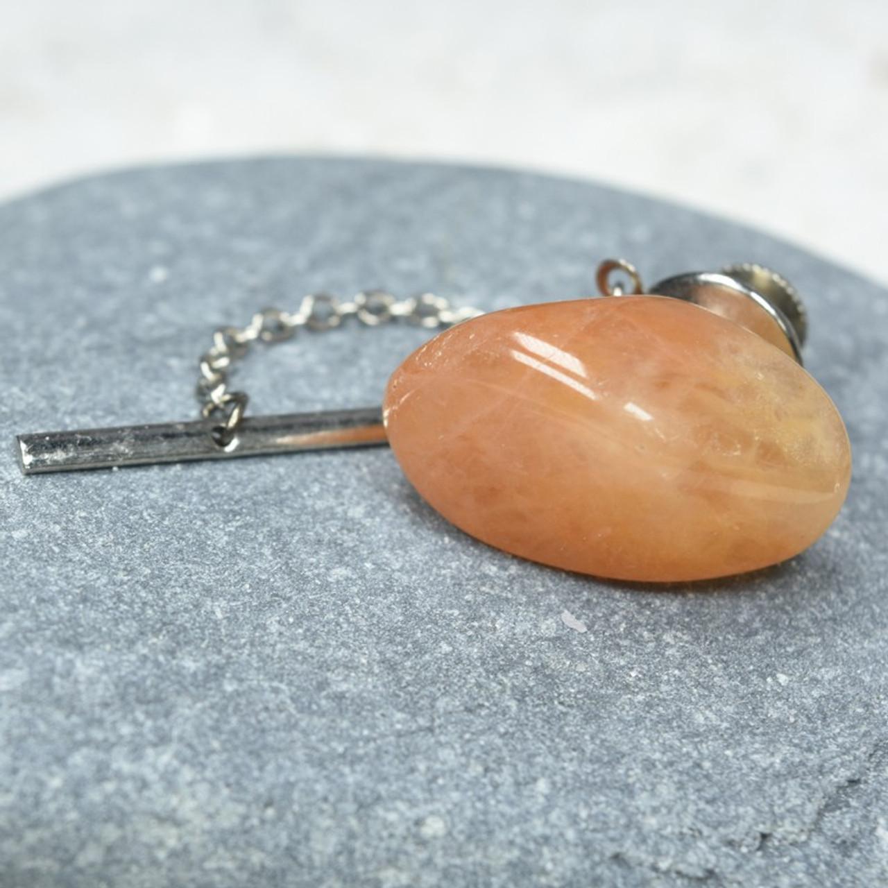 Peach Quartz Stone Tie Tack Handmade - Quantity of 1 - Made to Order