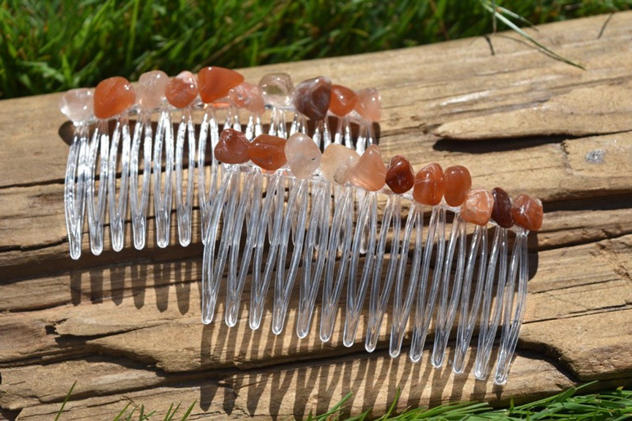 Red Quartz Stone Hair Combs