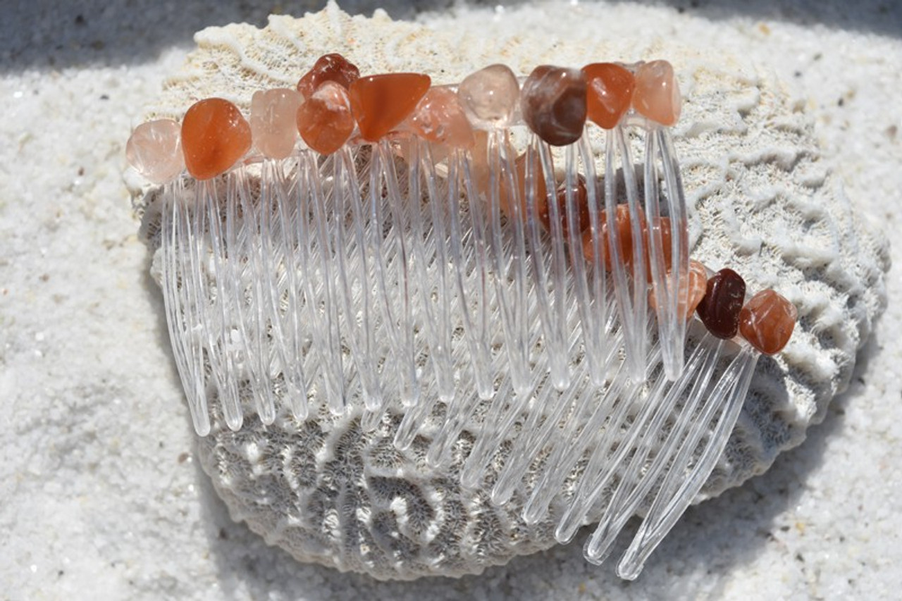 Tumbled Red Quartz Stone Hair Combs
