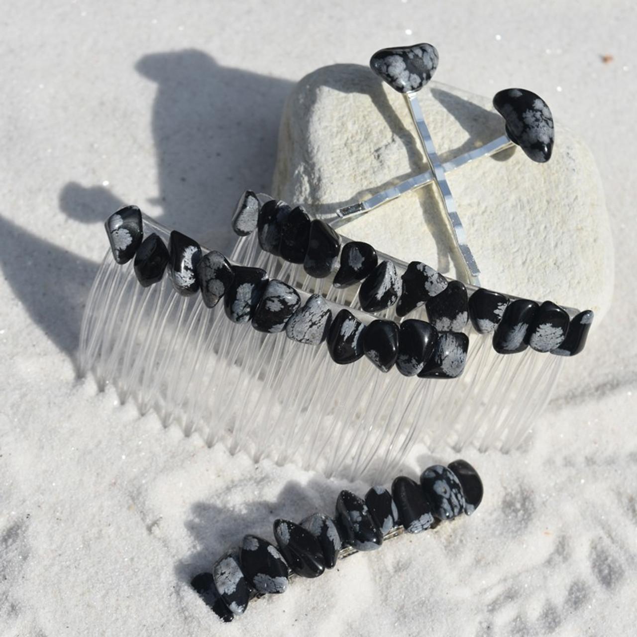 Snowflake Obsidian Stone Hair Clip Set