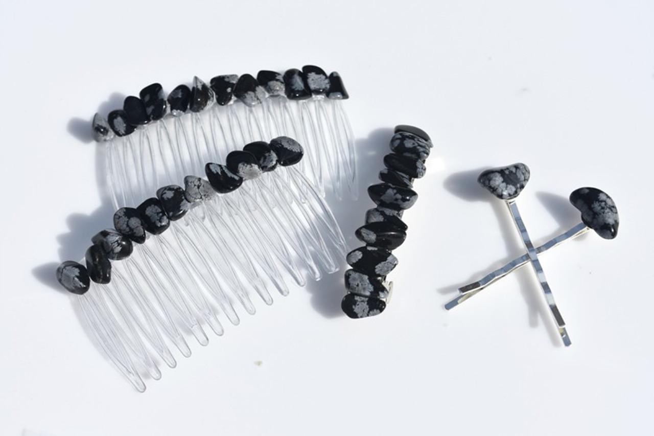 Tumbled Snowflake Obsidian Stone Hair Clip Set