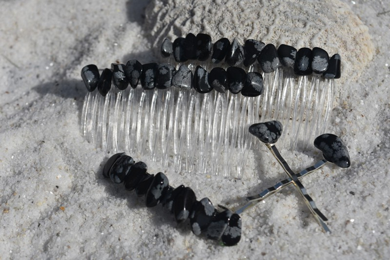 Snowflake Obsidian Stone Hair Clip Set - Includes 2 Hair Combs, 1 60 mm French Barrette, 2 Hair Pins - Made to Order