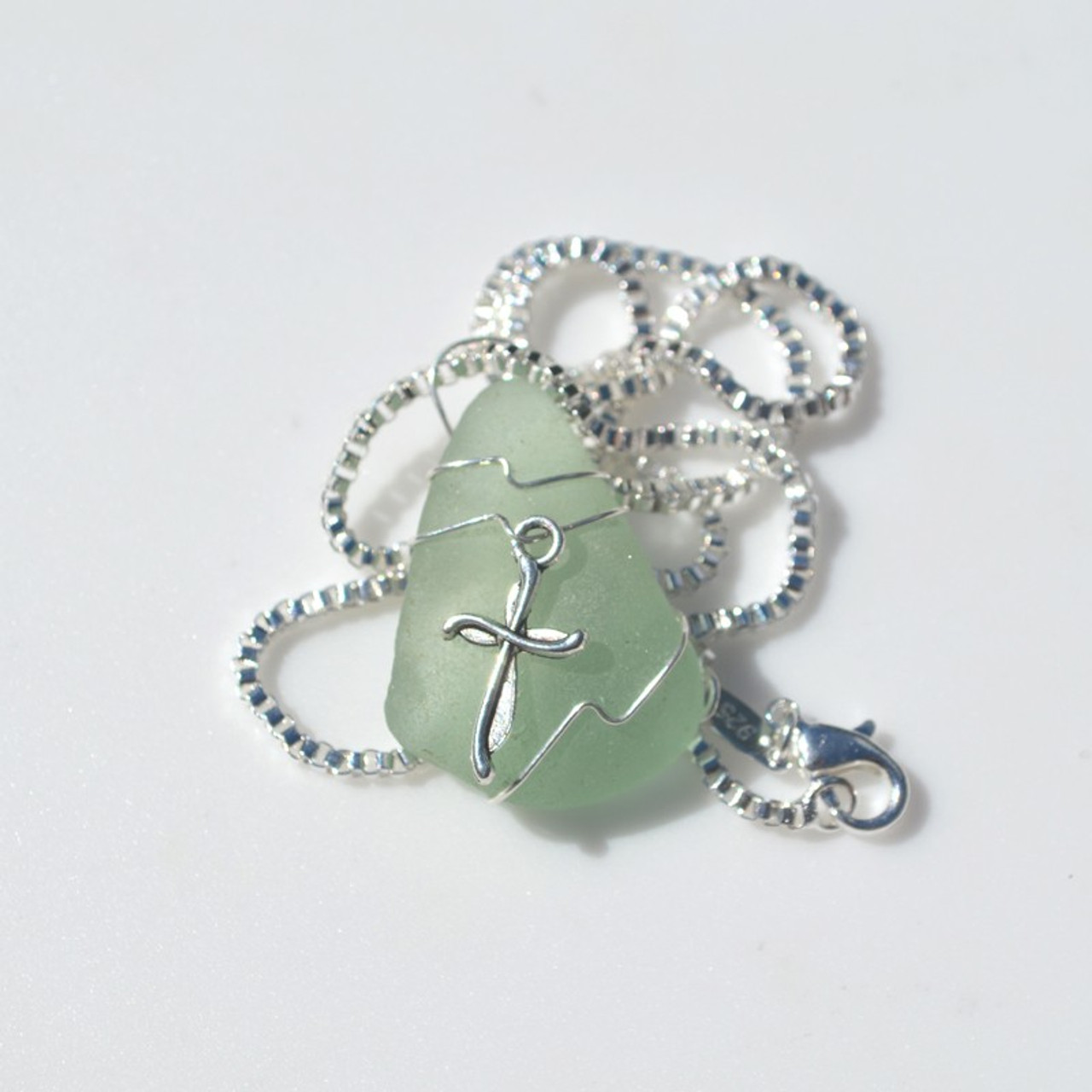 Genuine Sea Glass Necklace with a Silver Cross Charm - Choose the Color - Frosted, Green, Brown, or Aqua - Made to Order