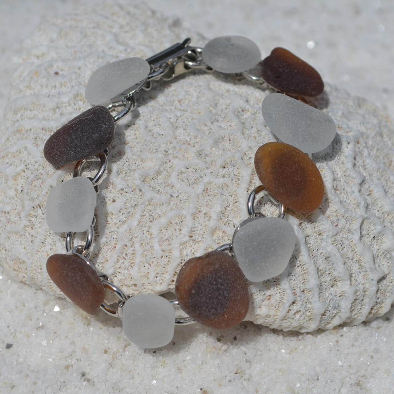 Frosted and Brown Sea Glass Bracelet