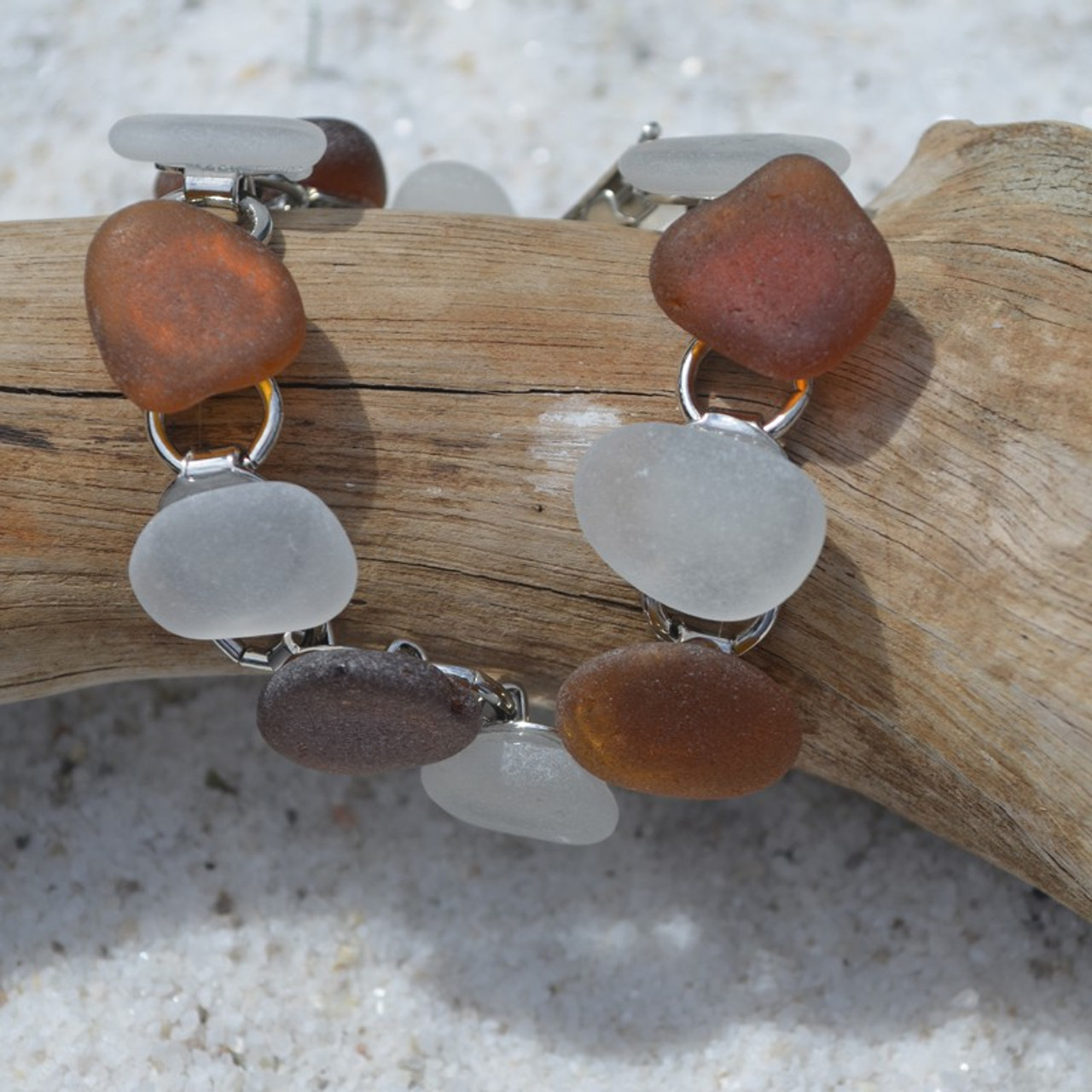 Brown and White Sea Glass Bracelet