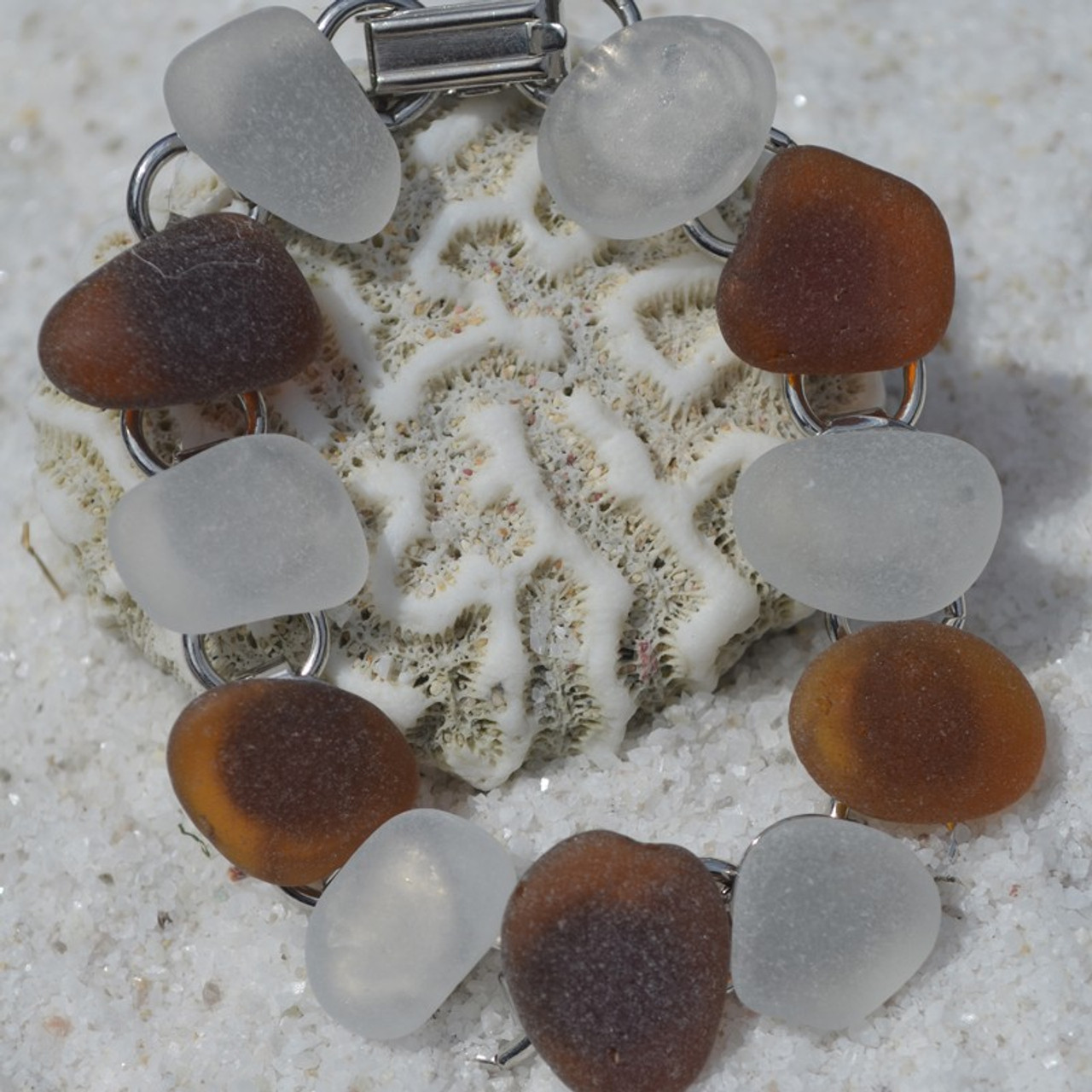 Surf Tumbled Brown and White Sea Glass Bracelet