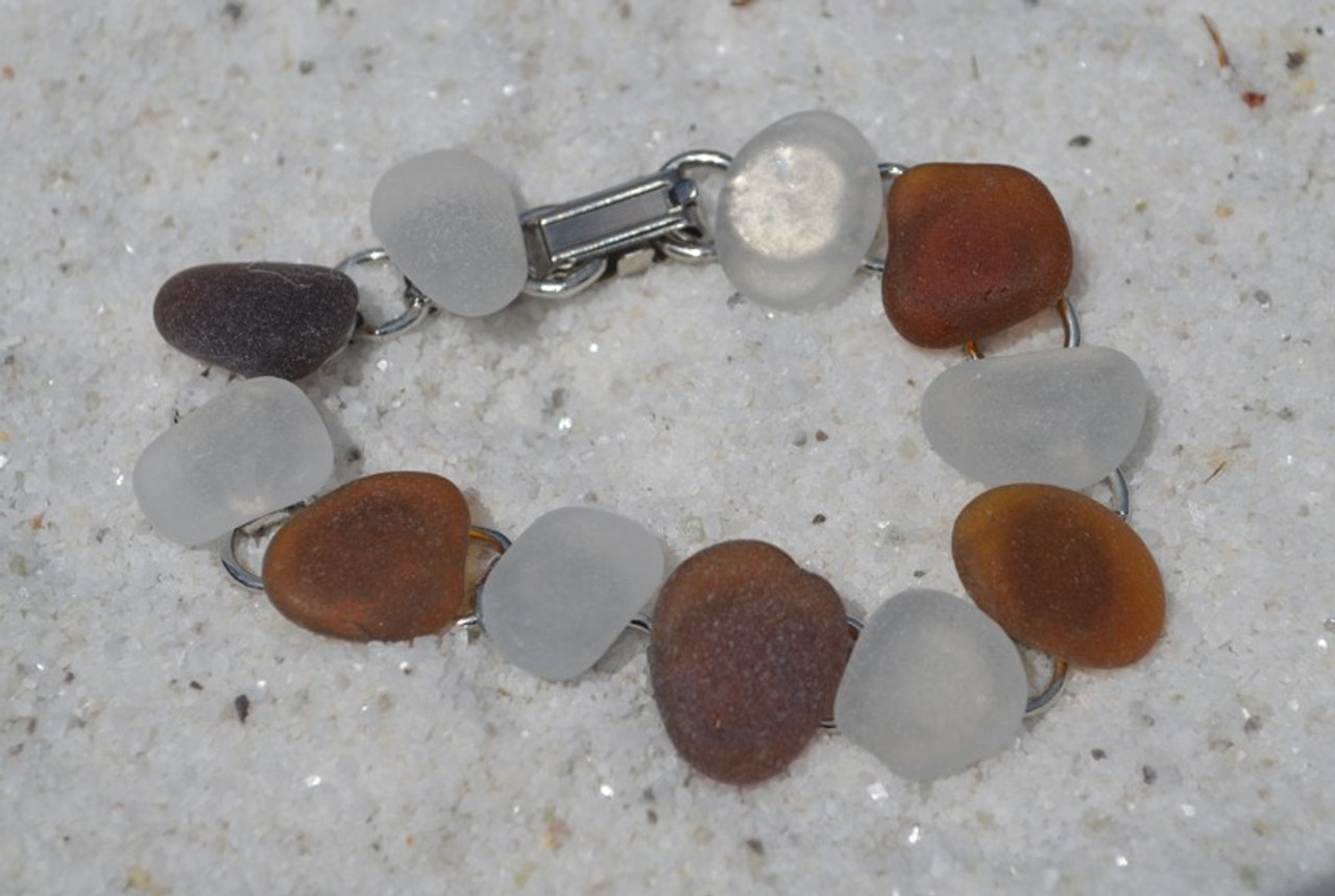 Genuine Surf Tumbled Frosted and Amber Brown Sea Glass Bracelet - 3 Size Options - Made to Order
