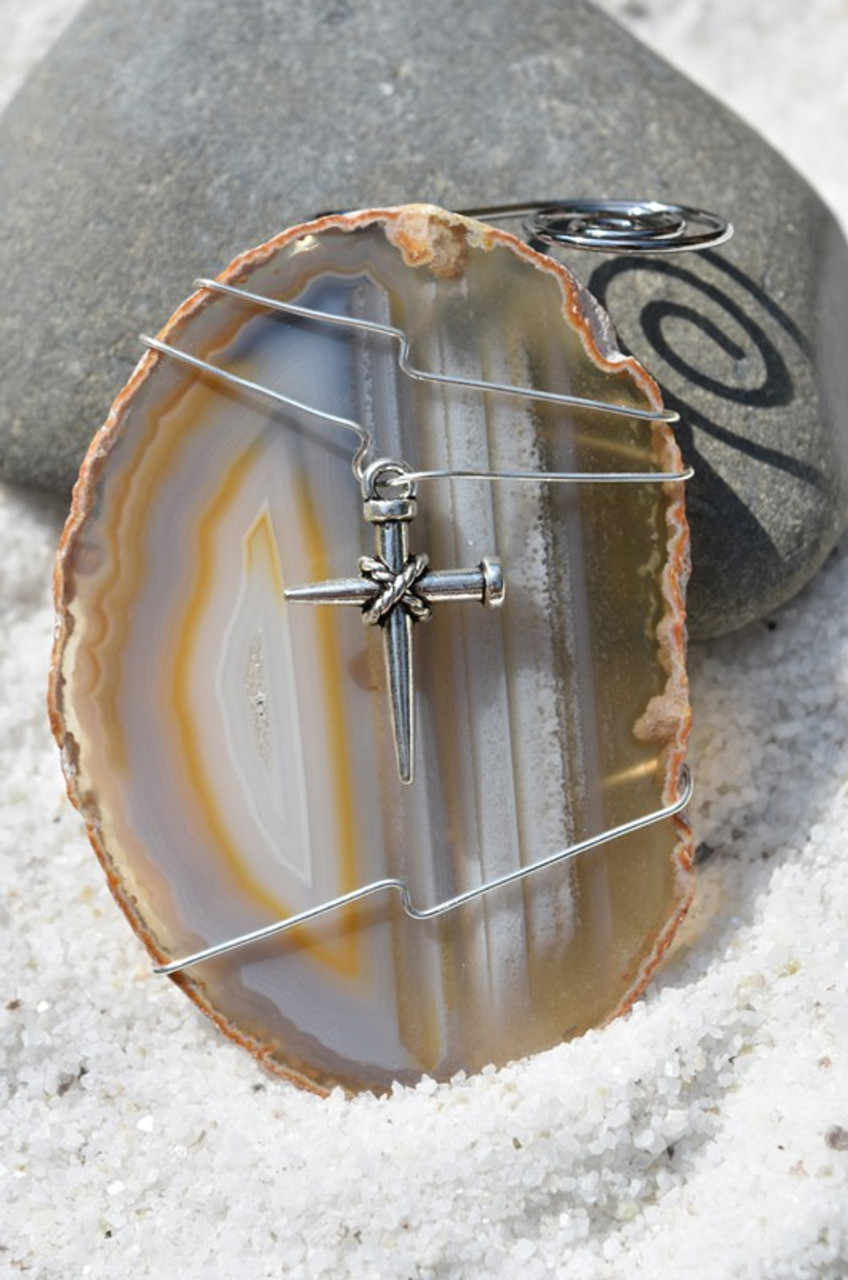 Agate Slice Ornament with Silver Nail Cross Charm - Choose Your Agate Slice Color - Made to Order