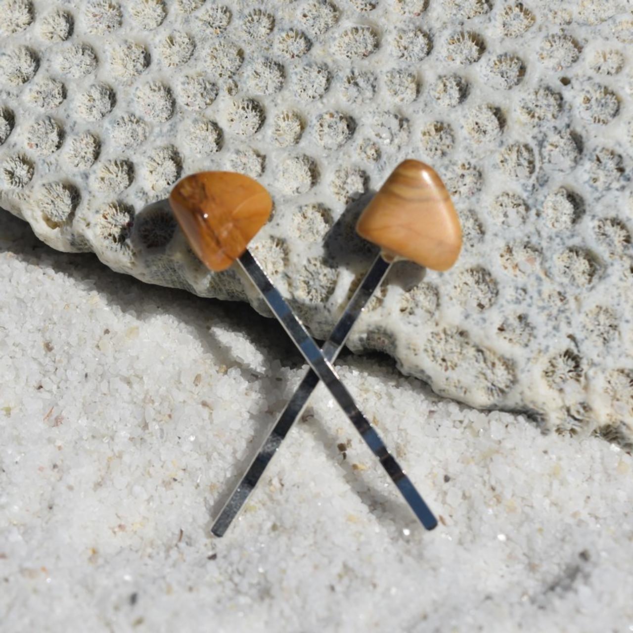 Yellow Jasper Stone Hair Pins