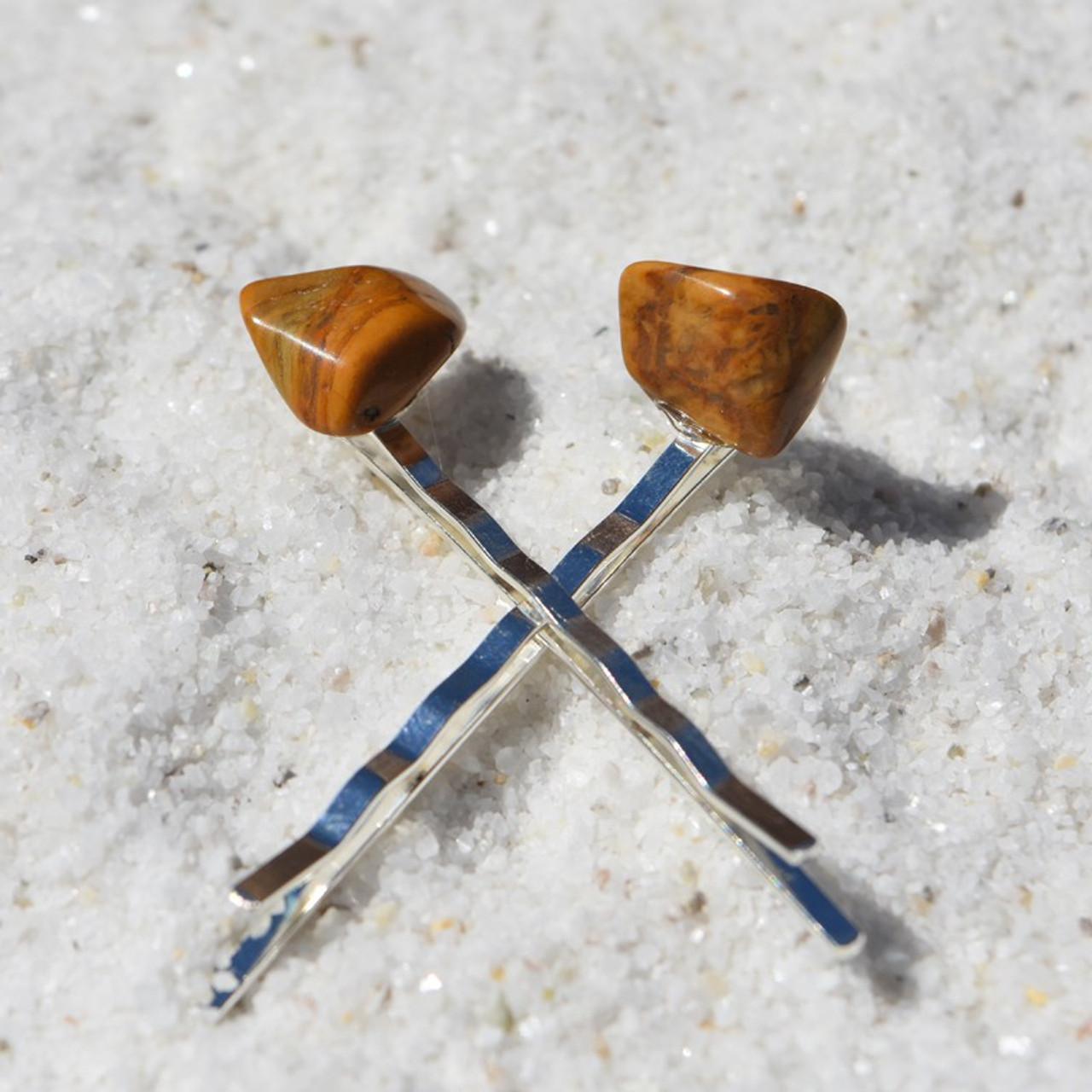 Tumbled Yellow Jasper Stone Hair Pins