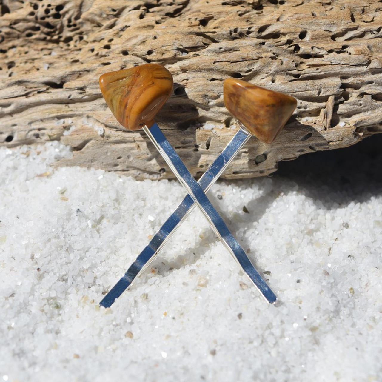 Yellow Jasper Stone Hair Pins (Quantity of 2)