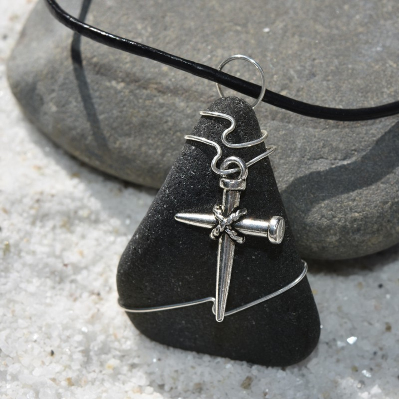 Wire Wrapped  Nail Cross Pendant