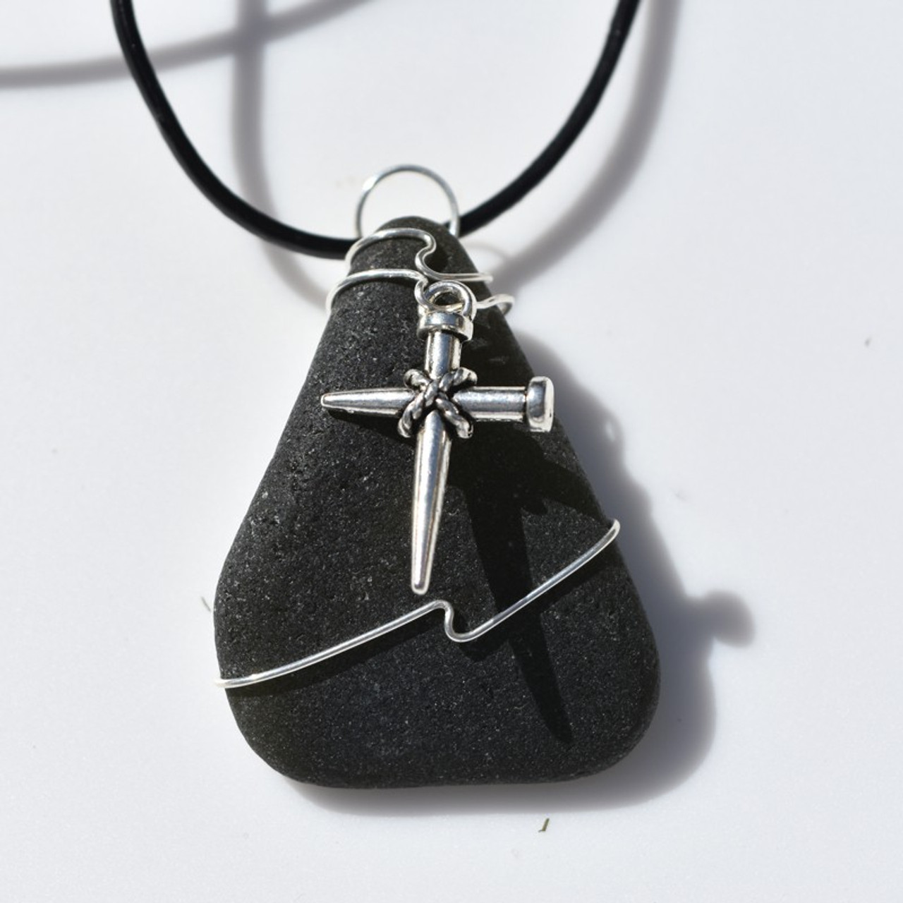 Wire Wrapped  Nail Cross Necklace
