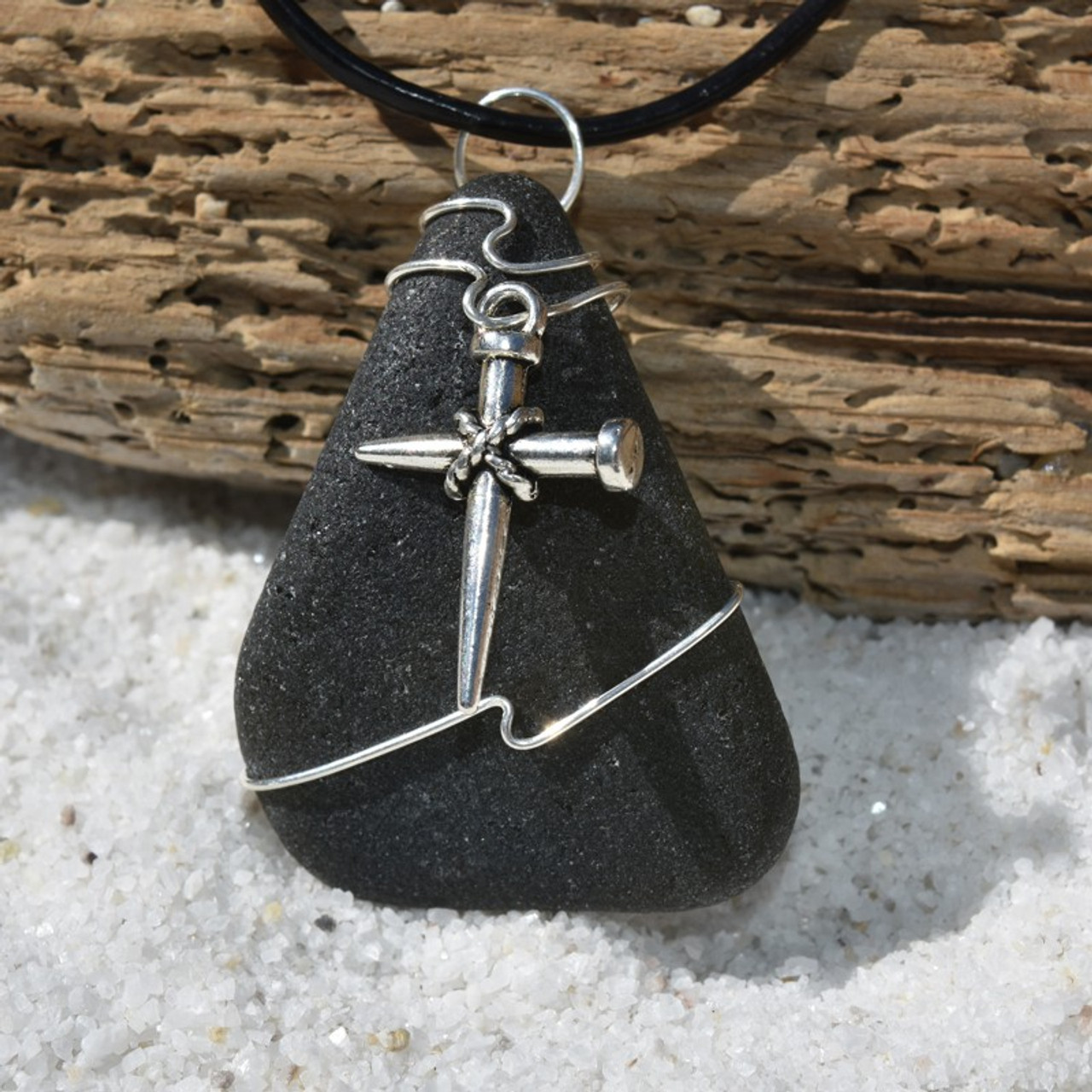 Handmade Genuine Sea Glass Necklace with a Silver Nail Cross Charm - Choose the Color - Frosted, Green, Brown, or Aqua - Made to Order