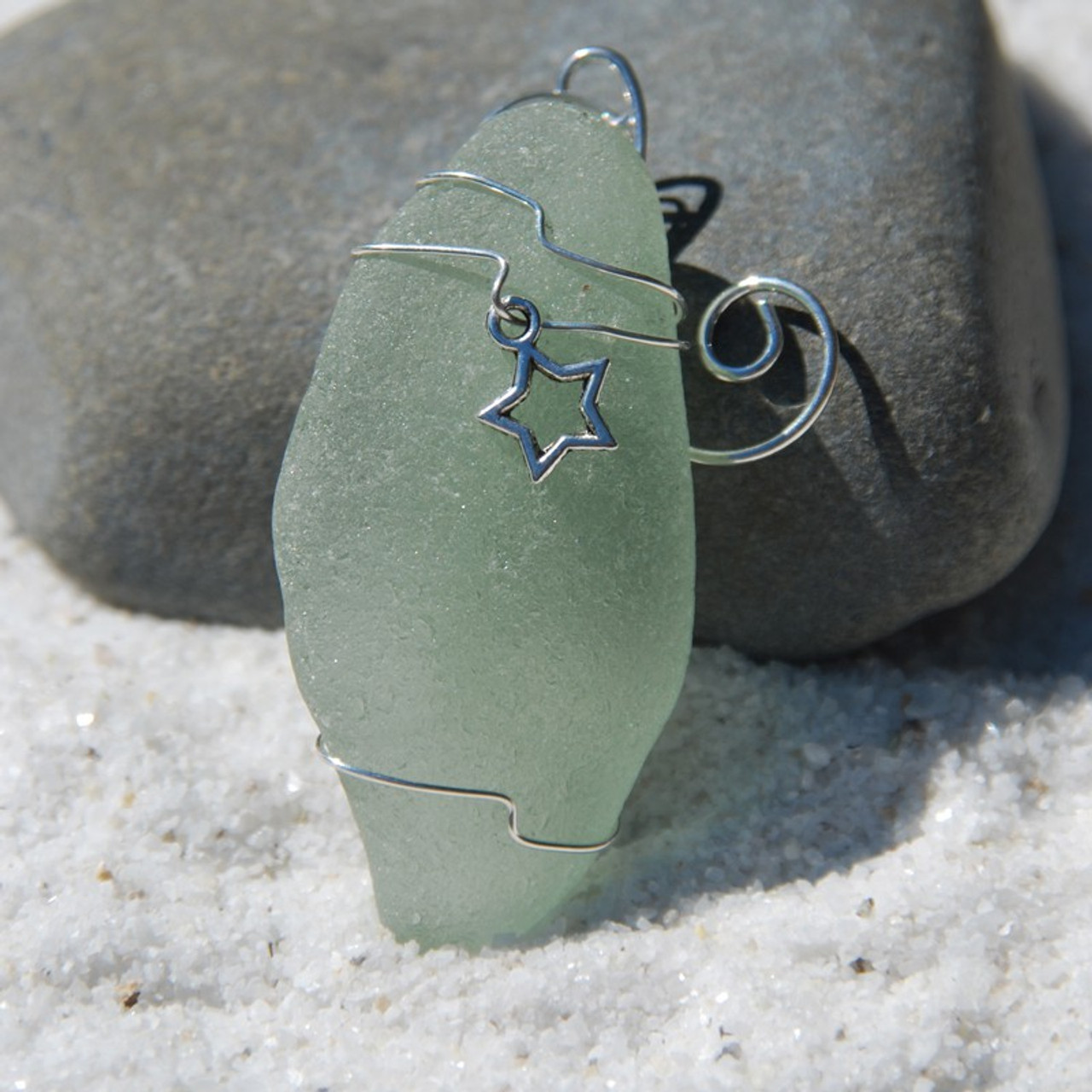 Surf Tumbled Sea Glass Star Ornament - Choose Your Color Sea Glass Frosted, Green, and Brown - Made to Order