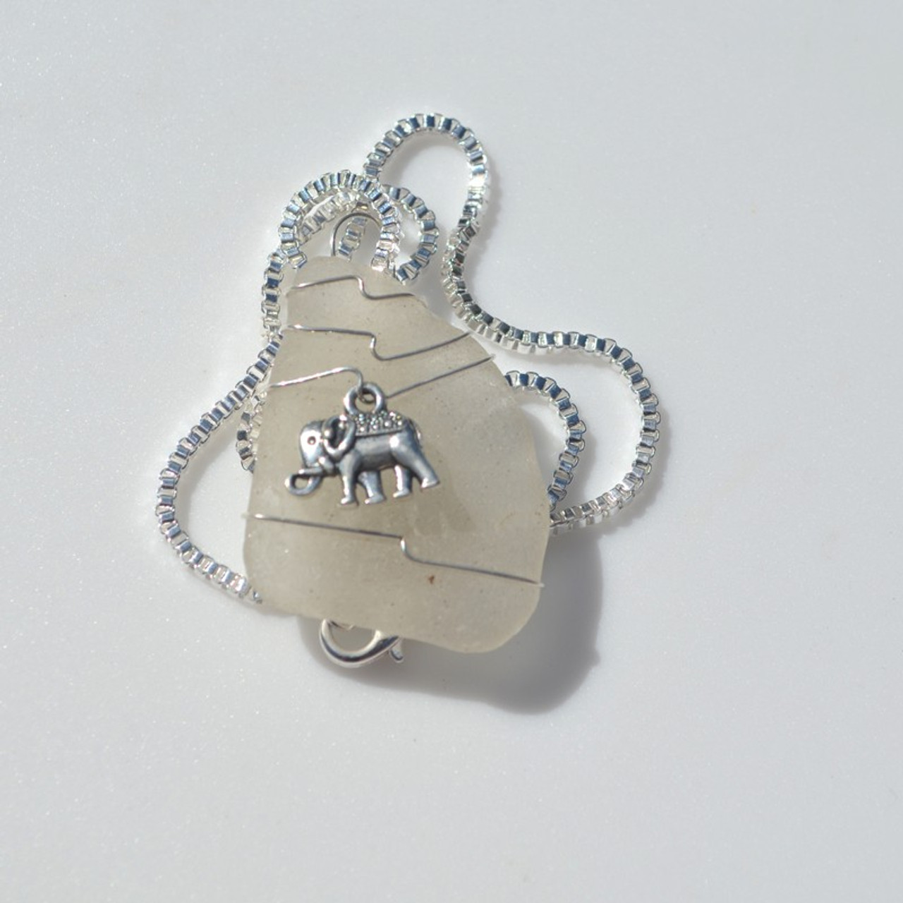 Handmade Genuine Sea Glass Necklace with a Silver Elephant Charm - Choose the Color - Frosted, Green, Brown, or Aqua - Made to Order