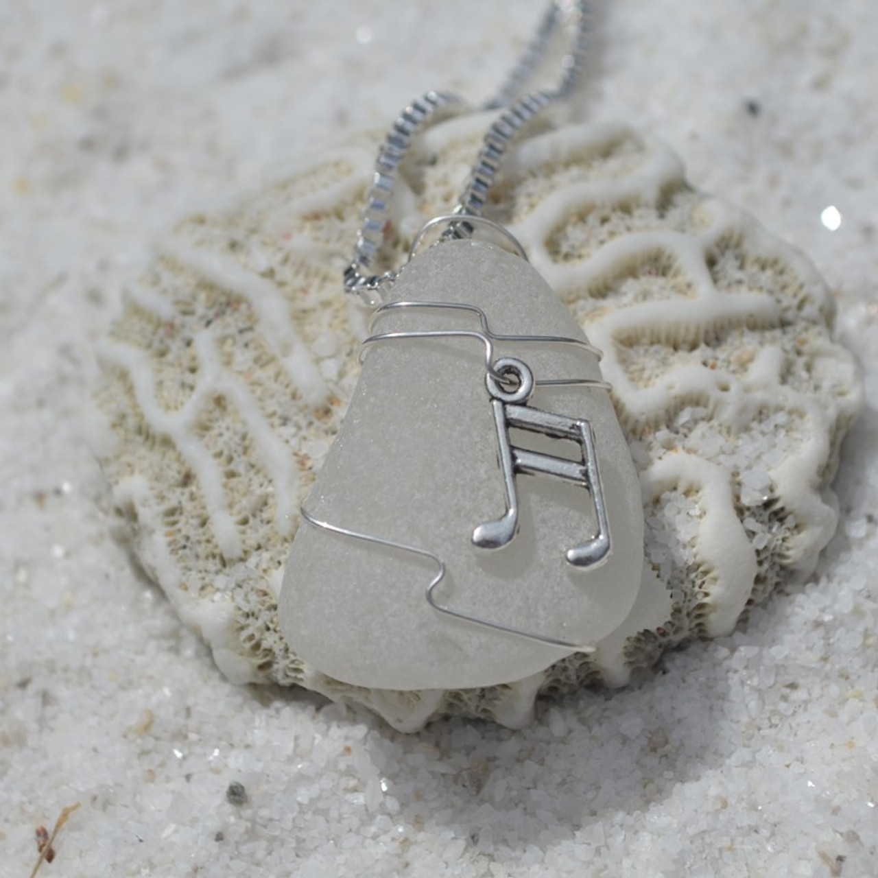 Wire Wrapped Musical Notes on a Necklace