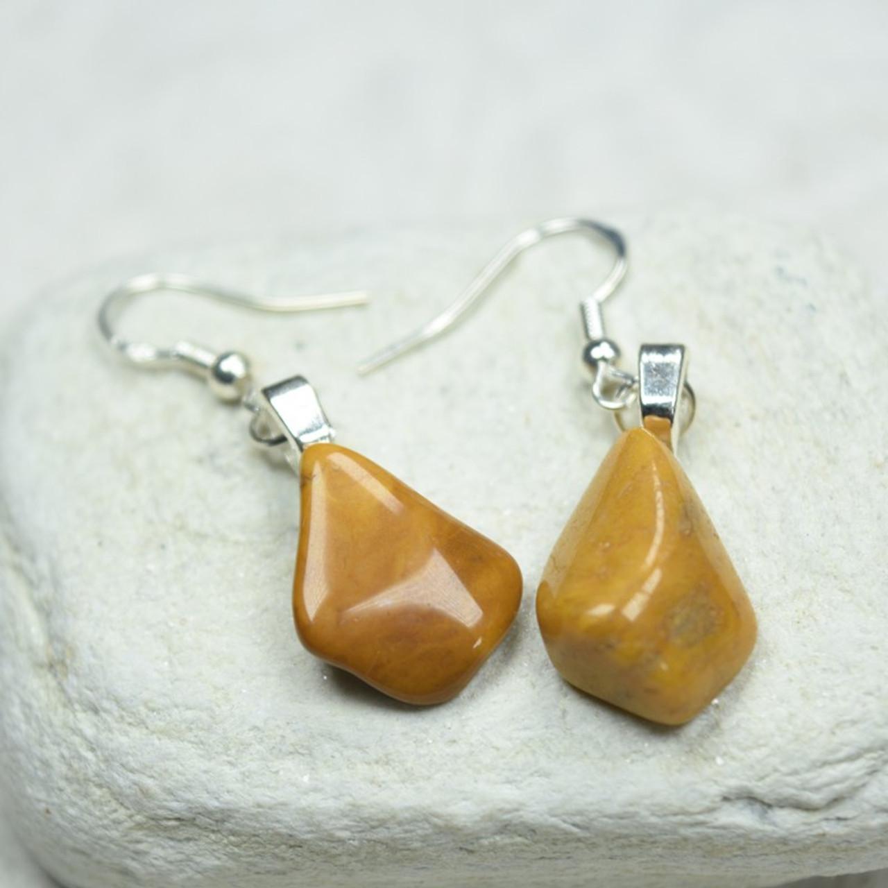 Yellow Jasper Stone Dangling Earrings